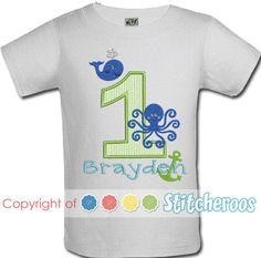 Stitcheroos personalized Boy Preppy Ocean shirt or Onesie embroidered by Stitcheroos