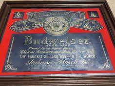 Budweiser-Cerveza-Lager-Barra-de-anuncios-grabadas-con-acido-Antiqued-Espejos-Artes-lucido-lineas