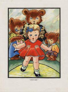 Antique print GOLDILOCKS and THREE BEARS 1940s vintage children's illustration nursery decor girl