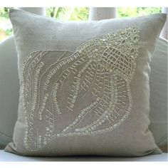 Sea Shell - 14x14 Inches Throw Pillow Covers - Cotton Linen Pillow Cover with Jute & Mother Of Pearl Embroidery The HomeCentric,http://www.amazon.com/dp/B00BGTLSKU/ref=cm_sw_r_pi_dp_xsvXsb1XWT6MH3HK