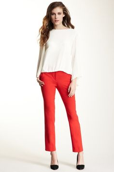 Vince Camuto Red Skinny Ankle Pant and Ivory White Pleated Sleeve Blouse