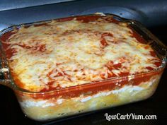 Spaghetti squash lasagna casserole was a little more work, but I enjoyed having more cheese in the dish. The cooked squash makes a great pasta substitute.