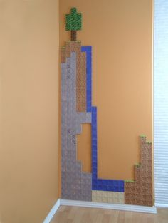 OK, forget Minecraft (sorry gamers! This made me think of a Lego wall! Maybe with a Lego shelf or two. Think of the creative and multi-dimensional possibilities! Minecraft Wall, Cool Minecraft, Lego Wall, Minecraft Skins, Boy Room, Kids Room, Minecraft Decoration, Diy And Crafts, Paper Crafts