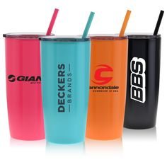 The Omega Collection - 20 oz. plastic tumbler.  Double walled with a push on, slide open/close lid. Color coordinated straw included.