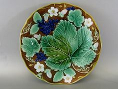 Antique Majolica Plate ca.1890. Grapes, Strawberries and Flowers