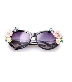 Flowers teen black fashion summer fun woman sunglasses