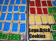 Fun treats for a LEGO themed party—Lego Brick Cookies (from One Artsy Mama)