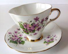 Vintage Royal Halsey Very Fine China Footed tea by JoyJoeTreasures