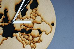Laser cut clock with map of Europe