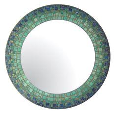 Blue & Teal Round Mirror Glass Mosaic por opusmosaics en Etsy, $135.00
