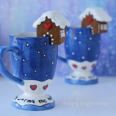Mini Gingerbread Cookie Houses for your Hot Cocoa Mugs by Hungry Happenings for Tablespoon.com