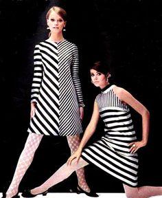 60's stripes...every kind & size diagonally, vertically & horizontally...in black/white/navy/red on white