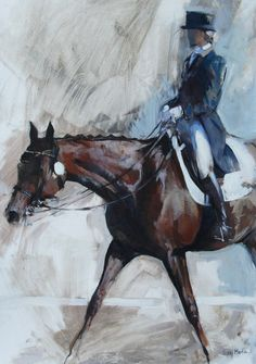 Exit on a Long Rein II by Sally Martin Oil ~ 21.5inch x 14.75inch