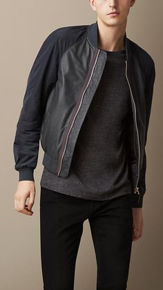 Burberry Brit Nappa Leather Bomber Jacket With Contrast Sleeves