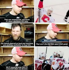 The Calgary Flames after Matt Stajan's first goal since his newborn son passed away.