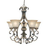 Classic Lighting 92715 HRW 5 Light Westchester Chandelier, Honey Rubbed Walnut