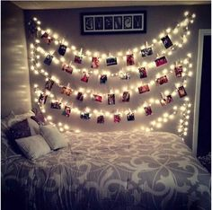 Cute way to hang pictures with a little light to add to the room. Thinking about doing this and then putting the friends logo above it in my dorm!