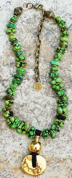 Custom Green Turquoise and Gold Pendant Necklace