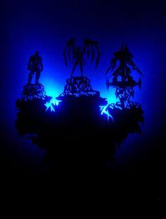 Starcraft heroes wooden wall clock with illumination.