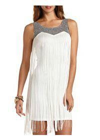 White fringe dress charlotte russe