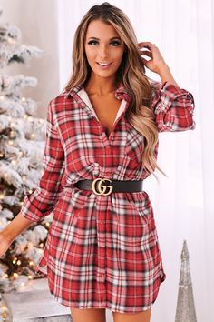 Dress Outfits, Cute Outfits, Fashion Outfits, Autumn Winter Fashion, Winter Wear, Fall Fashion, Country Dresses, Plaid Design, Button Down Dress