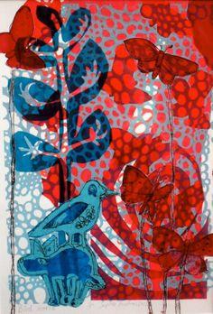 Bird world - Monoprint by Sophie Fordham