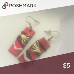 Hand made red design  earrings Hand made by talented New Orleans artist  red with gold black and white  design  for pierced ears hang nicely Jewelry Earrings