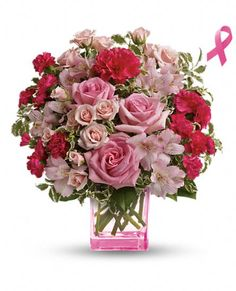 15% of the purchase price of this Teleflora's Pink Grace Bouquet benefits The Breast Cancer Research Foundation.