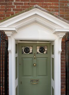 Lovely old ornate portico, now fully restored.  #georgian #english #home #restoration #ornate #old #portico #door #green #detail #townhouse #historic #littlehampton #arundel #westsussex #renovation