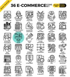 36 e-commerce business outline icons by Becris on @creativemarket