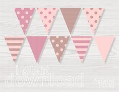 free printable pink pennet banner - Google Search