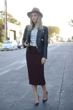 Fall 2015 Work Outfit Idea  Polka Dot Printed Top + Burgundy Pencil Skirt + Black Leather Jacket + Black Pointy-Toe Pumps