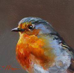 """Olieverf """"Red Robin"""" op MUS paneel, maat 10 x 10 cm (sold)"""