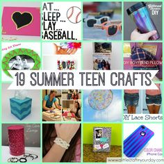 ♥ 19 Teen Crafts for Summer ♥ Can't wait to make some of these crafts ♥