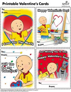 Caillou Valentine's Cards