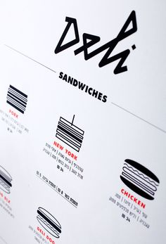 Graphic identity for Deli – an old school American style sandwich shop with a backdoor leading to a suave cocktail bar and mini club, located in Tel Aviv, Israel. The graphic language is a simplistic contemporary take on 50′s and 60′s American diner aesthetic.
