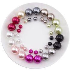 10 Pairs/ Lot Wholesale Pearl Stud Earrings 2016 New Arrival Double Sided Earrings for Women 16mm Double Pearls Earring