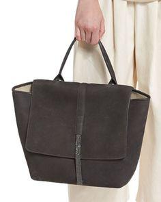 L0N33 Brunello Cucinelli Nubuck Leather Tote Bag, Dark Gray  l Bergdorf Goodman