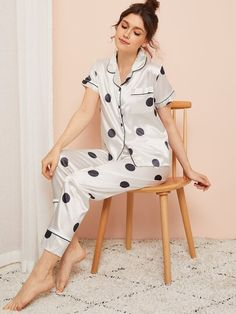 To find out about the Polka Dot Satin Pajama Set at SHEIN, part of our latest Night Sets ready to shop online today! Satin Pyjama Set, Satin Pajamas, Pyjamas, Pjs, Loungewear Outfits, Loungewear Set, Fashion Capsule, Fashion Outfits, Bridesmaid Saree