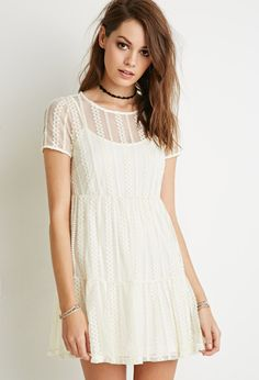 Tiered Eyelet Lace Dress - Shop All - 2000096059 - Forever 21 EU