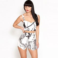 Fashion Floral Print Tank Tops   Shorts Two-piece Set Body Con Skirt, Hot Outfits, Crop Tee, Beautiful Outfits, Beautiful Clothes, Online Shopping Clothes, Black Print, Her Style, Passion For Fashion