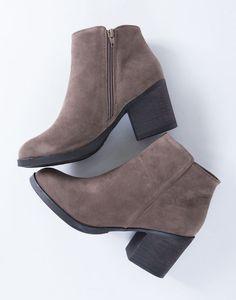 Casual Suede Heel Booties - Faux Suede Heel Booties - Chunky Block Heel Boots – 2020AVE