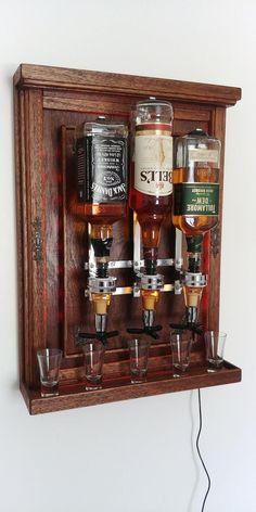 Dispenser for whiskey/Alcohol Dispenser/wall mounted bottle holder/Gift for men/Mini bar/whisky bottle wall dispenser/ Whiskey Dispenser, Alcohol Dispenser, Diy Home Bar, Diy Bar, Tapas Bar, Alcohol Cabinet, Cigar Room, Alcohol Bottles, Bottle Wall