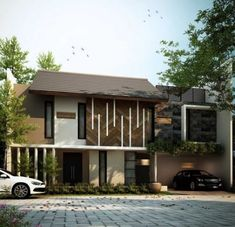 House facade design classic interiors ideas for 2019 Facade Design, Exterior Design, Architecture Design, Cool House Designs, Modern House Design, Bali House, Modern Minimalist House, Modern Bungalow, Tropical Houses