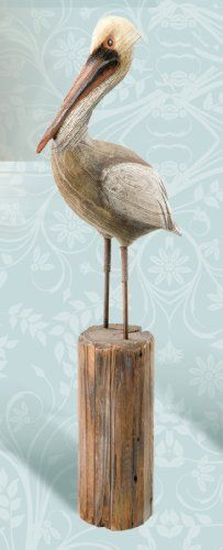 Hand Carved Decorative Wooden Pelican on Post . $55.99