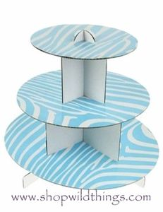 Cute aqua and white zebra print cupcake stand - Would be a cute decoration for a baby shower for a little boy. $4.99 For more zebra print baby shower ideas for a little boy, see http://www.squidoo.com/zebra-boy-baby-shower