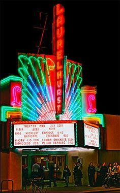 The original single screen theater of the Laurelhurst Theater could seat 650 people and was one of the first art deco style theaters of the period. Old Movies, Vintage Movies, Vintage Posters, Cinema Architecture, Art Nouveau, Vintage Neon Signs, Old Signs, First Art, Art Deco Design