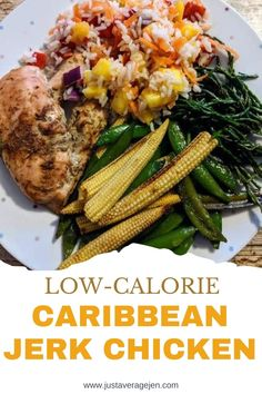 Caribbean Jerk Chicken - Low calorie and healthy Caribbean Jerk Chicken - great for summer, great for a BBQ - with rice, sweetcorn or salad.   Delicious, healthy food for the whole family. Or great if you're following a weight-loss program like Slimming World.  #healthy #slimmingworld #lowsyn #synfree #weightloss #healthy #lowcalorie