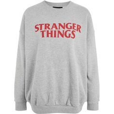'Stranger Things' Logo Sweatshirt ($42) ❤ liked on Polyvore featuring tops, hoodies, sweatshirts, logo sweatshirts, polyester sweatshirt, layered tops, 80s sweatshirt and double layer top