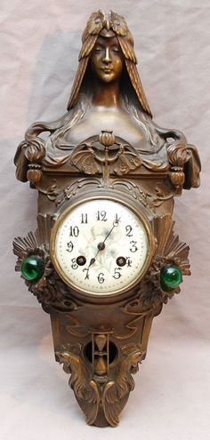 "Bronze art nouveau clock Signed Flamond, 16 1/2""h"
